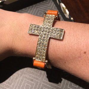 Jewelry - Orange Leather Natasha Cross Bracelet